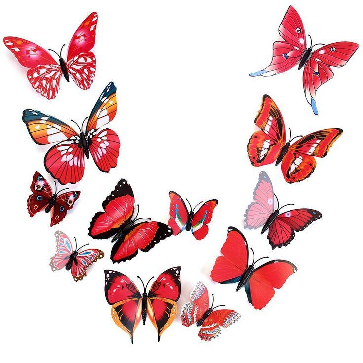 Hot Selling 12Pcs/lot Colorful PVC 3D Butterfly Wall Decor Cute Butterflies  Wall Stickers Art
