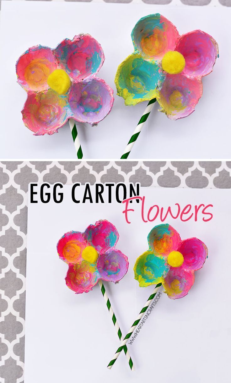 Colorful Egg Carton Flowers. Upcycled arts and craft activity for spring.