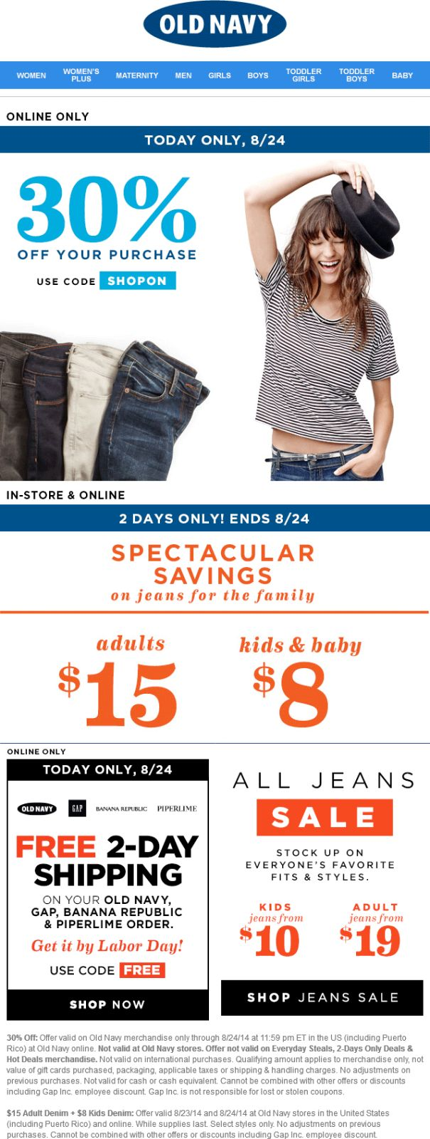 Pinned august 24th 30 off online today at oldnavy via promo code shopon