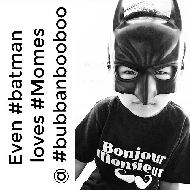 """Love this @bubbanbooboo  Thanks for letting us share this cool pic of your little #Batman in #MÔMES """"Bonjour Monsieur"""" tee!!!  Guys, Sylvia makes awesome pieces for boys and girls you should check @bubbanbooboo out!! ❤️ #toocoolforschool#stockist#wholesale#superhero#bubbanbooboo#organic#tshirts#handmade#handcrafted"""