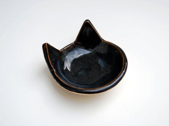 Black Cat Ring Dish - Ceramic, Pottery - Tea Bag Rest, Jewelry Dish, Ring Holder, Cat Dish - Lauren Sumner Pottery