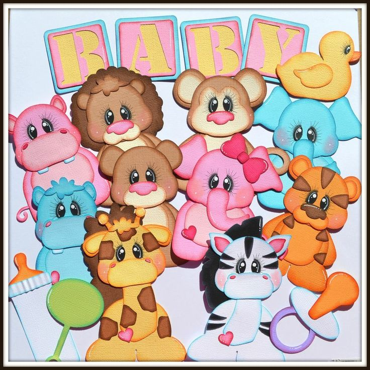 Elite4u Baby Zoo Animal Paper Piecing Set, Scrapbook Page Layout Album