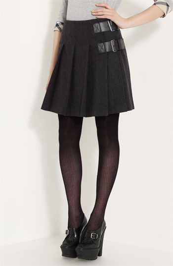 Burberry Brit Leather Tab Pleated Skirt