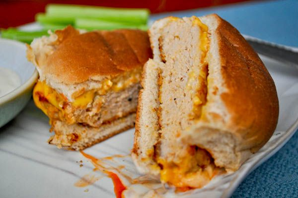 Buffalo Chicken Burgers - I'm going to make these tonight, without the ...