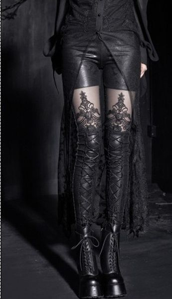 Black gothic lace stockings / hosiery with tall black laceup boots