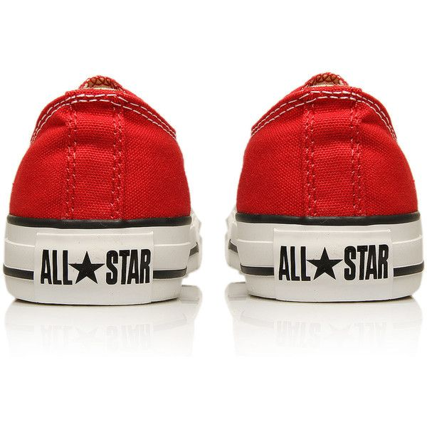 Converse Red Chuck Taylor All Star Low Trainers ($67) ❤ liked on Polyvore featuring shoes, sneakers, converse, zapatos, star sneakers, red trainer, rubber sole shoes, red shoes and canvas sneakers