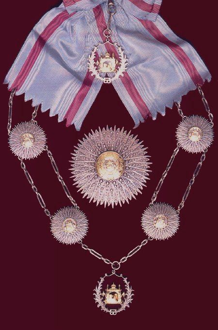 The Order of the Supreme Sun (King Muhammad Zahir Shah) Grand Collar, sash & sash badge, breast star, collar and collar badge. Nishan-i-Almar (the Order of the Supreme Sun): founded by Amir Abdu'r Rahman ca. 1897, reformed and reorganised by King Habibu'llah Shah in 1901 and by King Amanu'llah in 1923. Awarded in two classes (1. Nishan-i-Almar-i-A'ala or Grand Collar, and 2. Nishan-i-Almar-i-Ali or Grand Cordon) and conferred by the King on his own initiative.