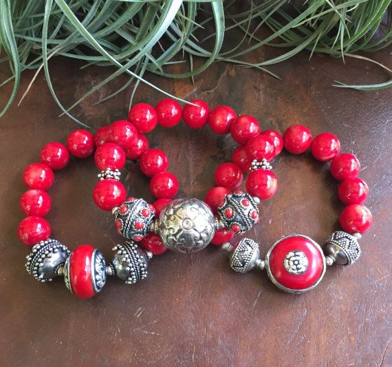 Silver Bamboo Coral Tribal Triple Set by JewelrybyKellyWalker