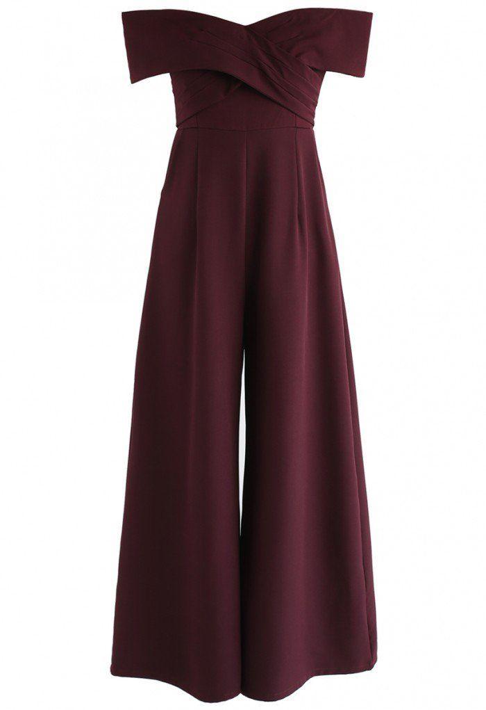 82fe40235f7 Eternal Sweet Cross Breast Off-Shoulder Jumpsuit in Wine - NEW ARRIVALS -  Retro