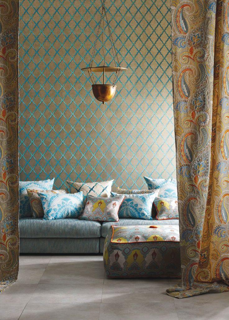 Gold & Jade Jali Trellis Wallpaper Wallpaper Matthew