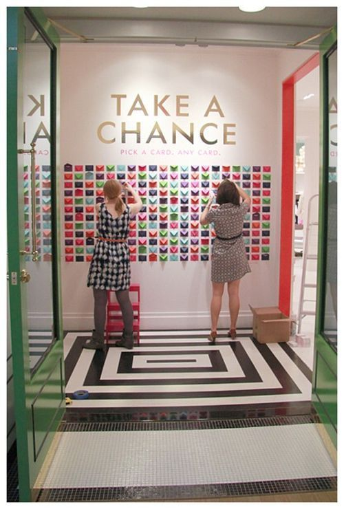 "Brilliant idea! The ""Kate Spade Interactive Wall"" located at the entrance to the #event. Great way to encourage guest conversation."