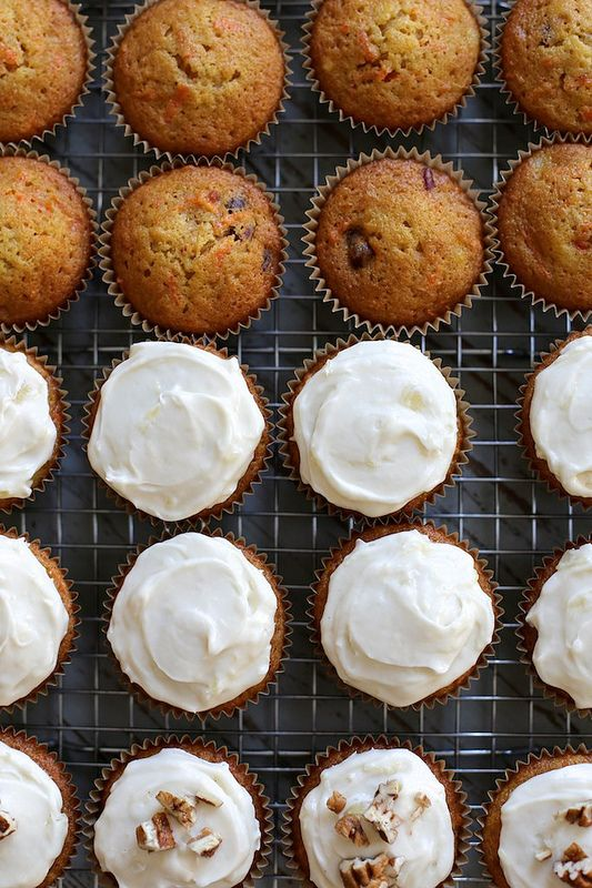 carrot cake cupcakes with pineapple cream cheese frosting