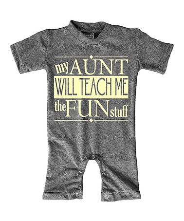 Look what I found on #zulily! Heather Gray 'My Aunt Will Teach Me' Romper - Infant #zulilyfinds