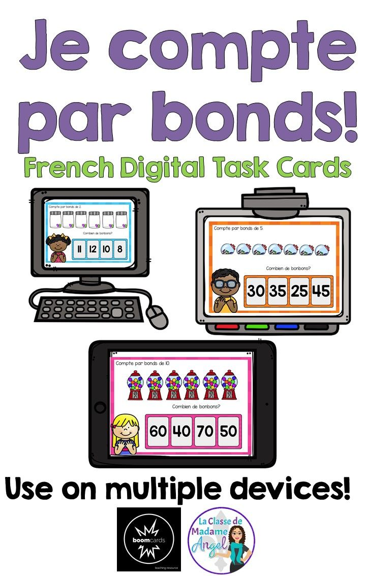 Je compte par bonds! French students will enjoy skip counting by 2's, 5's and 10's with this fun set of digital task cards hosted on Boom!  Learning!  These are great for any digital device!