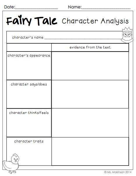 Fairy Tale Character Analysis - to be used with ANY fairy tale