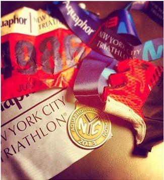 Medals and bibs #NYC #Triathlon