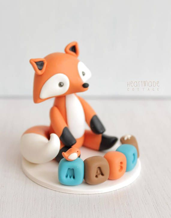 Fox baby shower cake topper woodland personalised cake topper