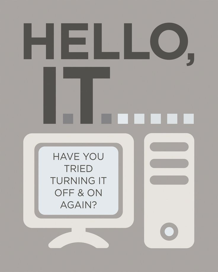 The IT Crowd Inspired Art Print, Hello IT Quote