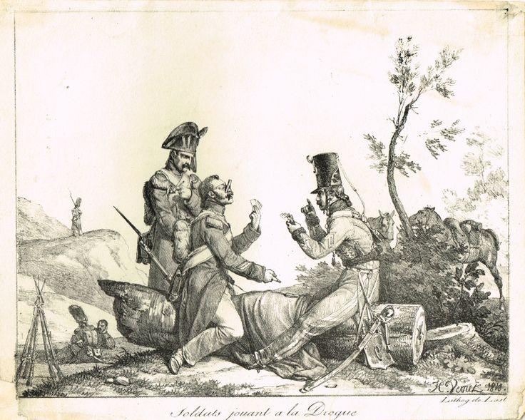 Soldats jouant à la Drogue - Lithographie de LAST d'après Horace VERNET