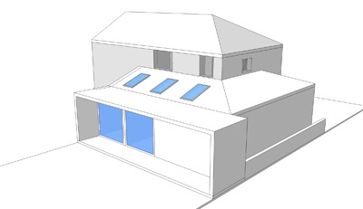 Unbuilt contemporary extension to a 1970's semi detached house, Corstorphine Hill, Edinburgh by Capital A Architecture