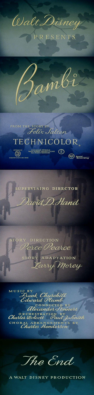 Walt Disney Bambi Movie Film Typography Type