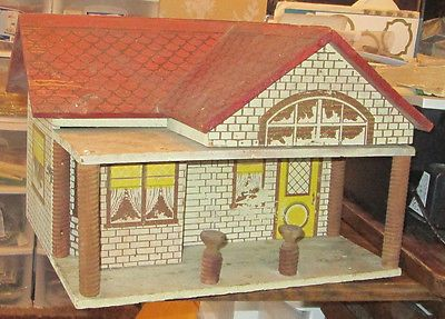 VINTAGE-OLD-CASS-CONVERSE-WOODEN-PAINTED-DOLLHOUSE-DOLL-HOUSE-TOY-RED-ROOF-CUTE