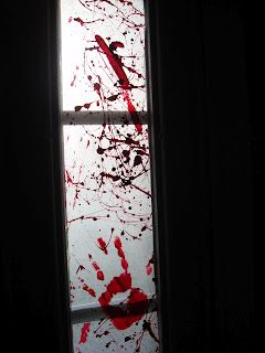 Paint wax paper with red paint then tape over windows.Halloween Parties, Halloween Decor, Bloody Mess, Painting Wax, Bloody Window, Windows, Red Painting, Halloween Ideas, Wax Paper