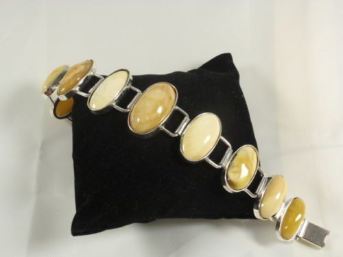 Obecnie na aukcjach #Catawiki: Sterling Silver & Baltic Amber Bracelet, 32,8 grams