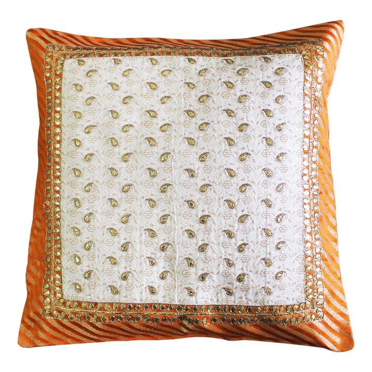 "Handmade Cushion Cover 16"" x 16"" Orange Brocade Throw Pillow Embroidery Pillows #Handmade #Ethnic"