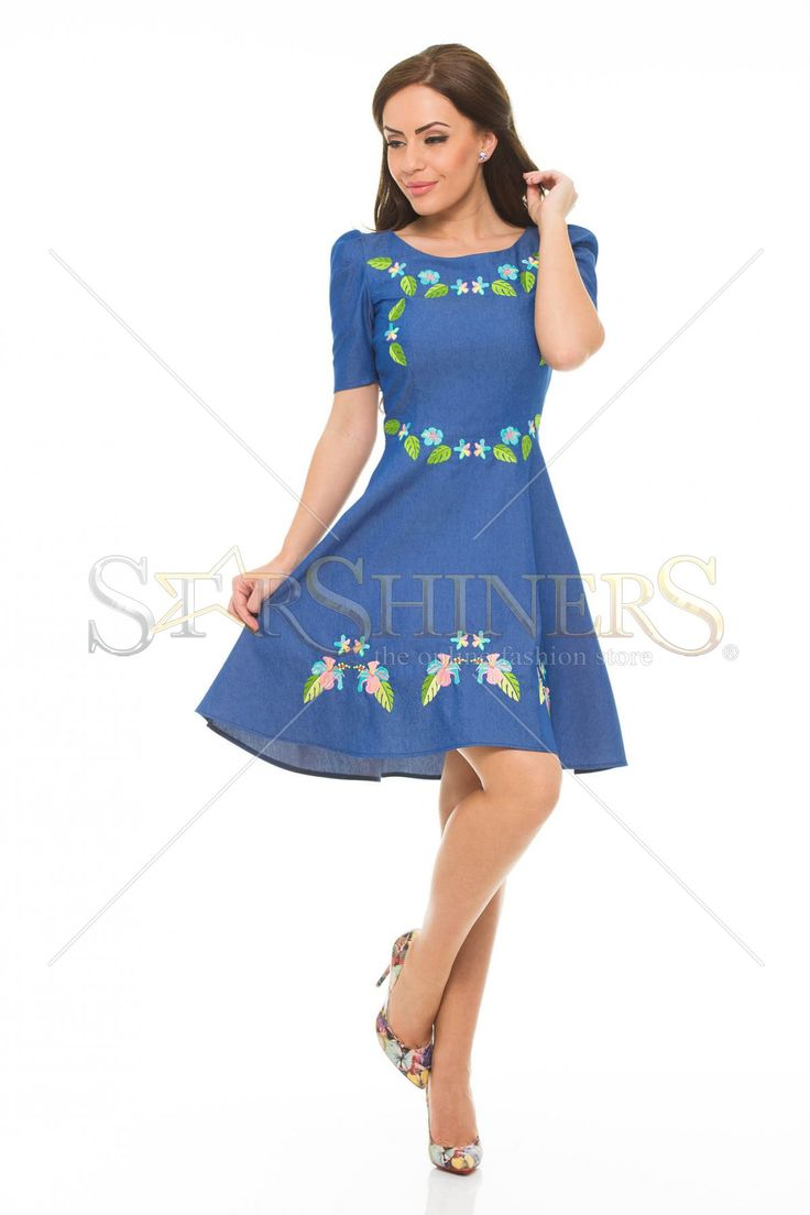 StarShinerS Embroidered Brasil Blue Dress