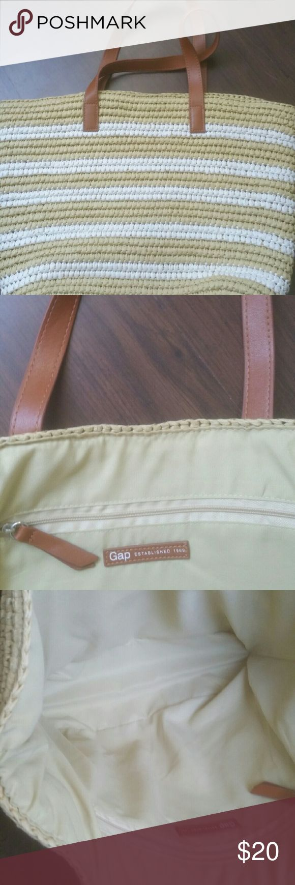 Gap straw bag Gap straw bag with leather handles.  Never used!!! gap Bags Totes