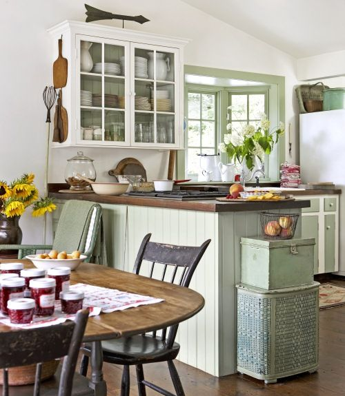 42 best vintage farmhouse chic images on pinterest for Country living kitchen designs