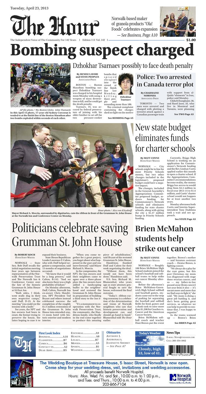 The Hour's frontpage from Tuesday, April 23, 2013.