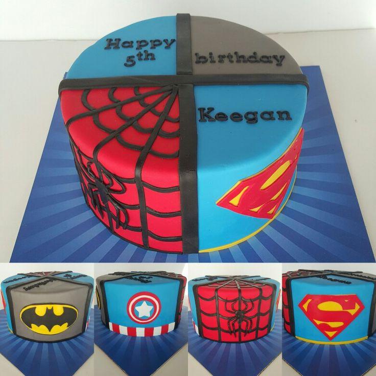 Super hero birthday cake. Batman, Spiderman, Captain America & Superman cake.