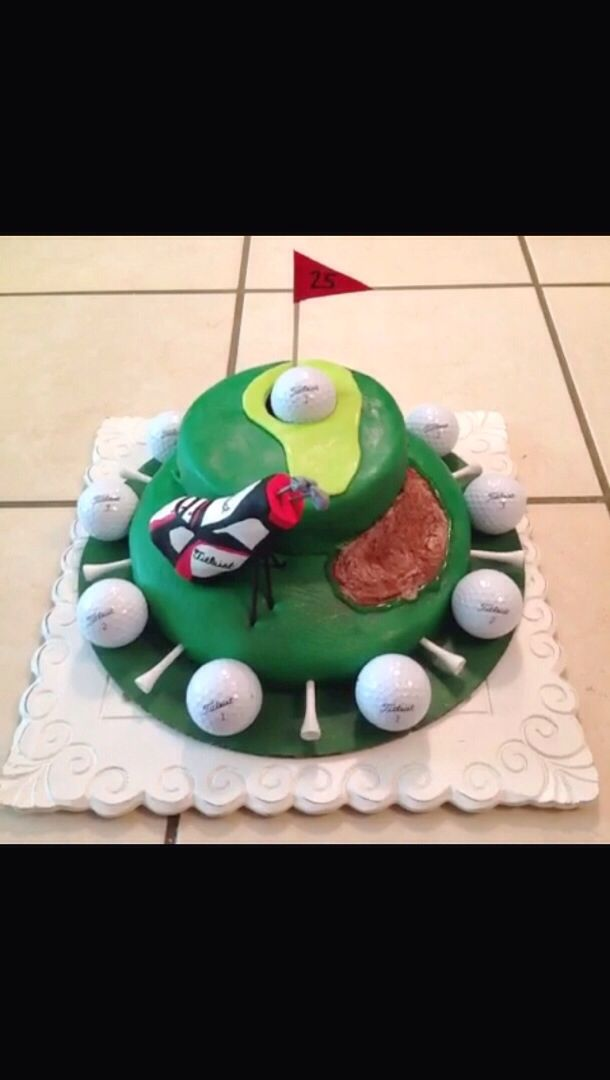 Golf cake with real Titleist golfballs. Everything else--edible!