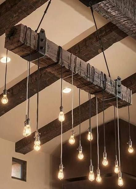 wooden look beams create a rustic feel. The lights are simple but quite funky... something for over the bar... or perhaps in the bodega?