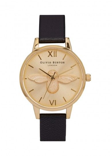 Midi Moulded Bee gold-plated watch