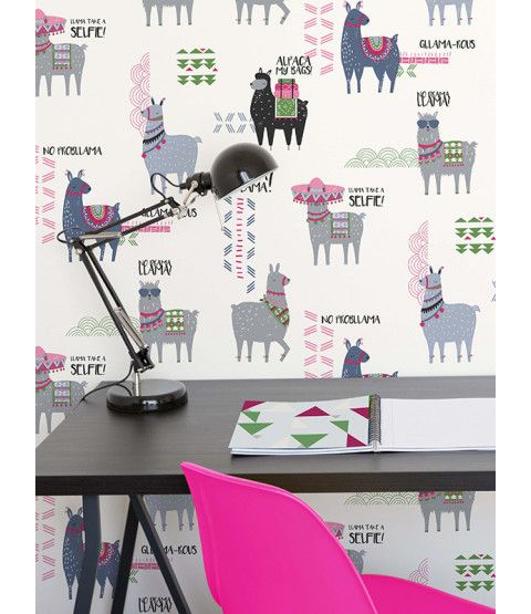 This Crown Drama Llamas Wallpaper features an array of adorable llamas and has subtle glitter highlights. Free UK delivery available.