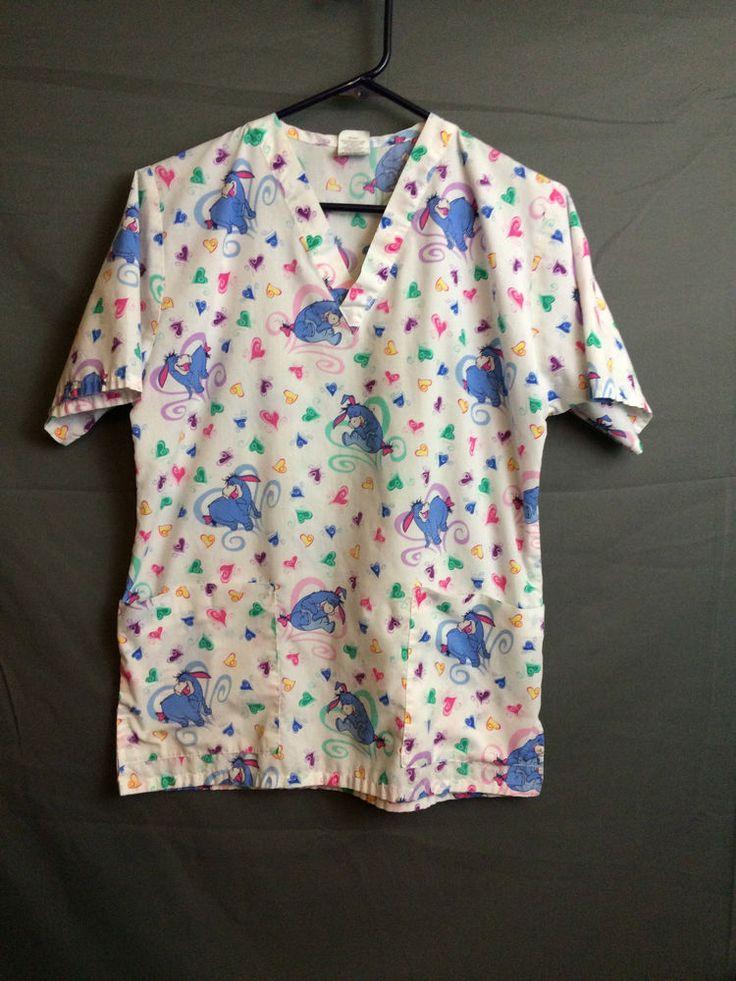 Disney Women S Scrub Top Eeyore Hearts Multi Color Poly Cotton