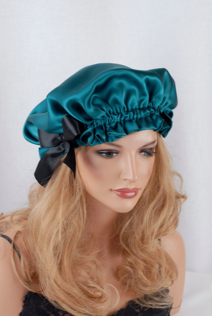 Silk Sleep Bonnet Satin Pea Charmeuse Fully Adjule Reversible Cap For Hair Care