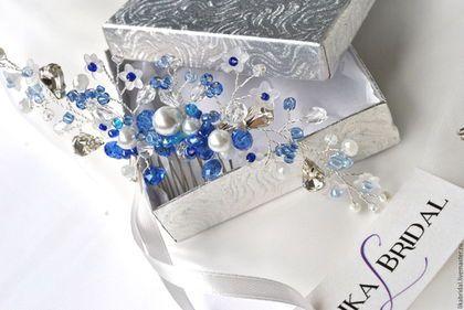Свадебные украшения ручной работы. Заказать Гребень свадебный белый с синим…