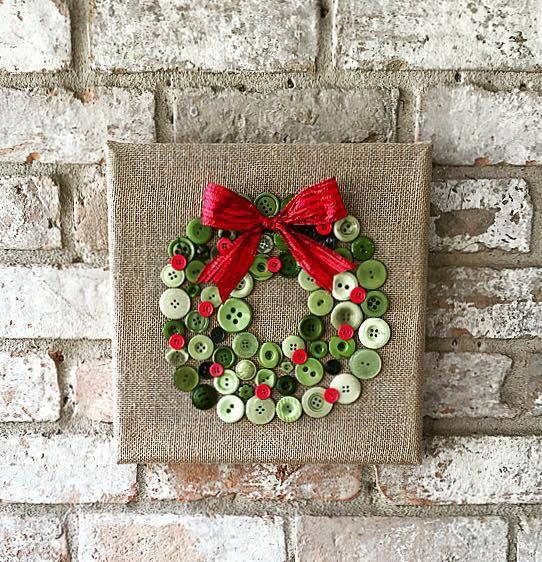 Christmas burlap button wreath art