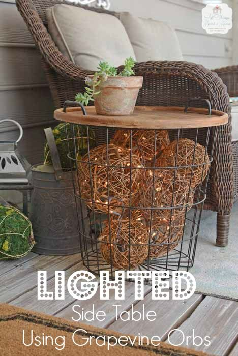 Lighted Grapevine Balls in a Side Table! - All Things Heart and Home