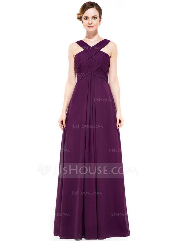 JJs House - Sale $116 Would be Dark Green - A-Line/Princess V-neck Floor-Length Chiffon Bridesmaid Dress With Ruffle (007051433)