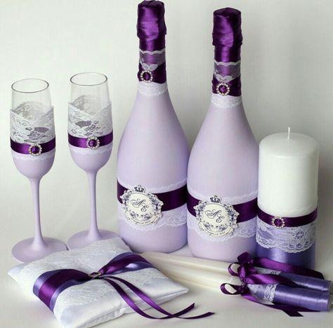 Купить Свадебный набор синий с кружевом синий, свадебные аксессуары, свадебные бокалы, свадебное шампанское