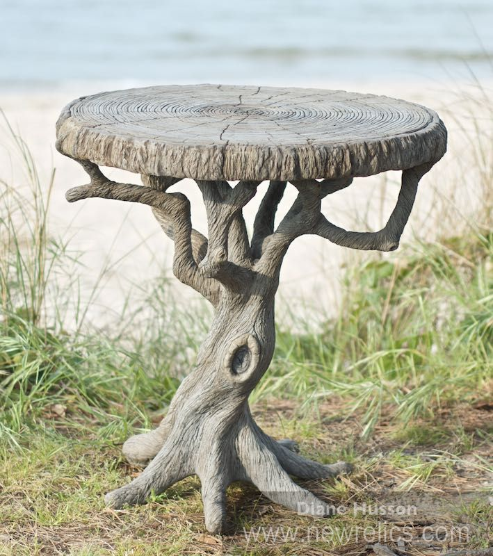 Concrete faux bois garden tree table by  Diane Husson. www.newrelics.com
