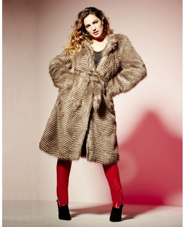 """Kelly Brook"" Kelly Brook Faux Fur Belted Coat at Simply Be"