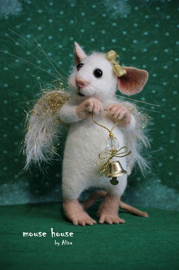 Engel Figur, Maus mit Flügel, Weihnachtsdekoration, Nadel gefilzte Maus, Tier, weiche Skulptur, Spielzeug, Künstlerpuppe, gefilzt Filz Mäuse