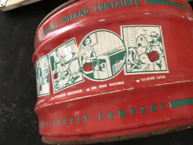 I am so loving the graphics on this Wizard Gas/Utility Can from the 1950's.