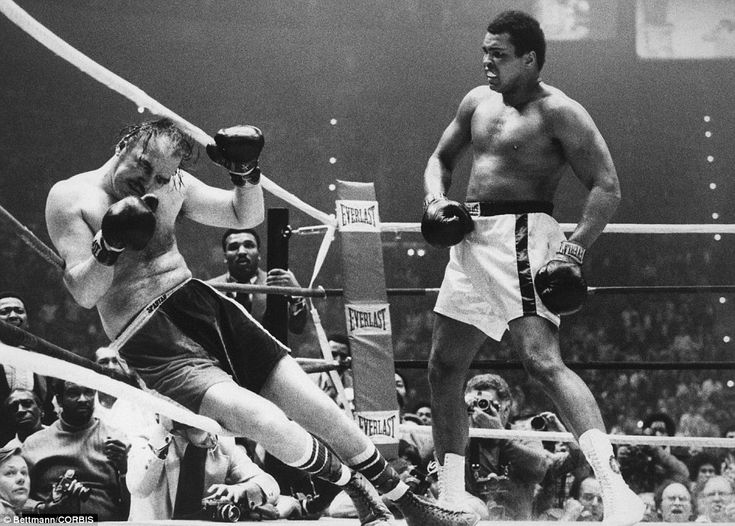 Smashed; Chuck Wepner is almost knocked through the ropes as Ali retains his heavyweight titles in Richfield in 1975